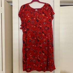 Old Navy Red Floral Dress Large